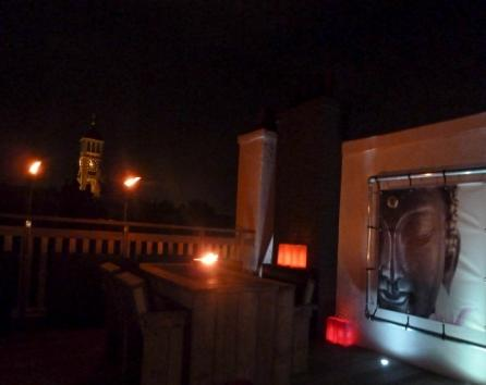 Roof terrace by night